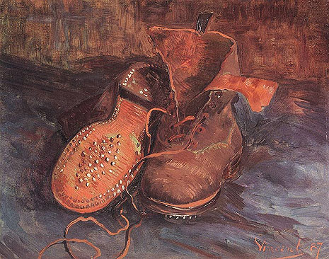 Van Gough's 'A Pair of Shoes', 1887.  Heidegger used this painting to describe artwork and truth.